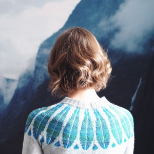 Image of Dianna facing away from the camera, wearing a sweater with a blue patterned yoke